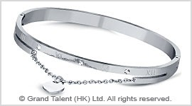 Titanium Stainless Steel Roman Numerals Crystal Bangle