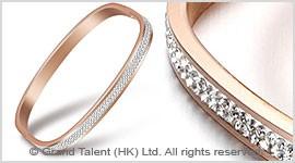 Titanium Stainless Steel Crystal Bangle
