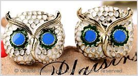Crystal Owl Enamel Stud Earrings