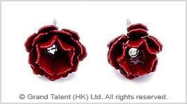 Red Metal Rose Stud Earrings
