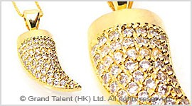 Horn Cubic Zirconia Brass Charm Necklace