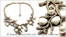 Coral Branch Pearl Necklace