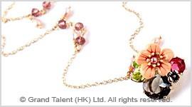 Flower Crystal Enamel Chain Necklace