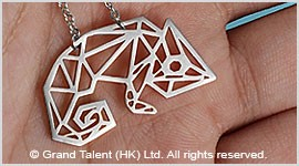 Origami Chameleon Stainless Steel Charm Necklace
