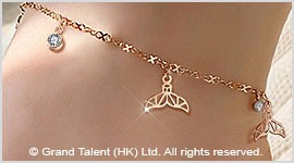 Titanium Steel Whale Tail & Crystal Anklet
