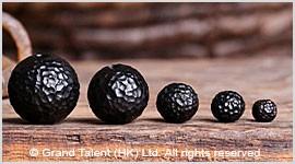 Natural Black Ebony Carved Wood Bead