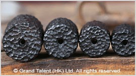 Natural Black Ebony Carved Wood Bead