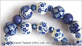 Assorted Blue Porcelain Ceramic Beads