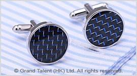 Blue Carbon Fibre Brass Designer Cufflinks