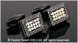 Black & White Brass Designer Cufflinks