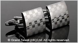 Laser Checkered Brass Designer Cufflinks
