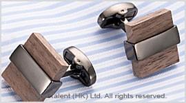 Red Sandalwood Wood Brass Designer Cufflinks