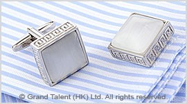 White Cat's Eye Brass Designer Cufflinks