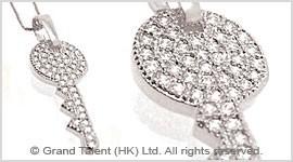 Key Cubic Zirconia Brass Charm Necklace