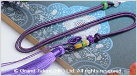 Purple Chinese Knotted String Cord Tassel Necklace with Jade Beads