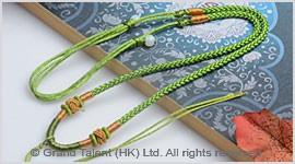 Apple Green Chinese Knotted String Cord Necklace