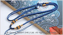 Blue Chinese Knotted String Cord Necklace
