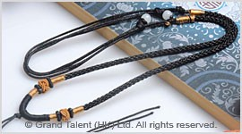 Black Chinese Knotted String Cord Necklace