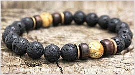 Men's Style Natural Lava Picture Jasper Bracelet