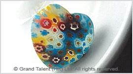 Frosted Millefiore Glass Heart Pendant