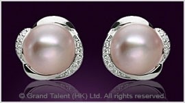 Mauve Freshwater Pearl CZ Sterling Silver Pin Earrings