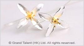 Silver Cruciate Flower Long Hook Earrings