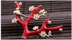 Red Coral Branch Enamel Brooch