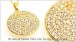 Disc Cubic Zirconia Brass Charm Necklace