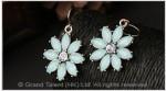 Aqua Blue Crystal Flower Hook Earrings
