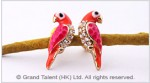 Parrot Enamel CZ Stud Earrings