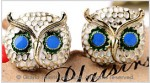 Crystal Owl Enamel Stud Earrings