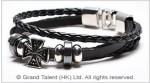 Men's Style Black Woven Multi Leather Bracelet