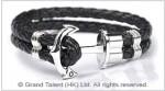 Men's Style Black Double Woven Leather Bracelet