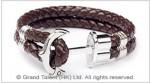 Men's Style Brown Double Woven Leather Bracelet