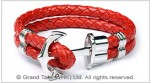 Men's Style Red Double Woven Leather Bracelet