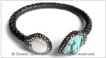 Turquoise and Pearl Leather Bangle