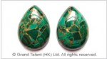 Gold Stripes Green Malachite Cabochon