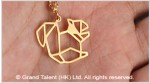 Origami Squirrel Stainless Steel Charm Necklace