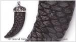 Black Genuine Snakeskin Horn Pendant