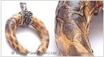 Sand Genuine Snakeskin Horn Pendant