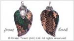 Multi Color Genuine Snakeskin Leaf Pendant