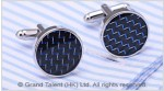 Blue Carbon Fibre Brass Designer Cufflinks