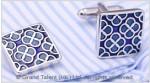 Blue Oriental Enamel Brass Designer Cufflinks