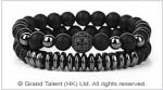 Matte Black Crystal Grey-Plated Hematite Bracelet