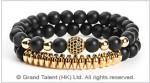 Matte Black Crystal Gold-Plated Hematite Bracelet
