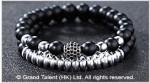 Matte Black Crystal Silver-Plated Hematite Bracelet