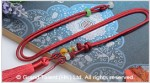 Burgundy Chinese Knotted String Cord Tassel Necklace with Jade Beads