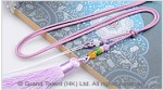 Light Purple Chinese Knotted String Cord Tassel Necklace with Jade Beads
