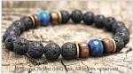 Men's Style Natural Lava Lapis Bracelet